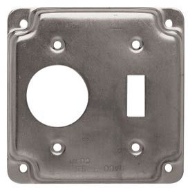 """Hubbell 805c 4"""" Square Exposed Work Cover, One Toggle Switch & One 1.406 Diam. Hole - Pkg Qty 10"""