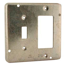 """Hubbell 814 4"""" Square Exposed Work Cover, 1 Toggle & 1 Gfci - Pkg Qty 10"""