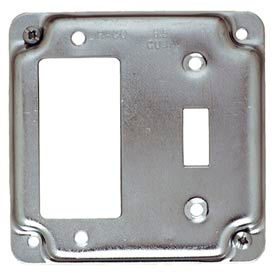 """Hubbell 814c 4"""" Square Exposed Work Cover, 1 Toggle & 1 Gfci - Pkg Qty 10"""