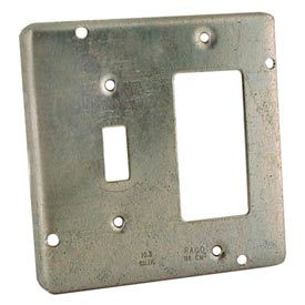 """Hubbell 858 4-11/16"""" Square Exposed Work Cover, 1 Gfci & 1 Toggle - Pkg Qty 10"""