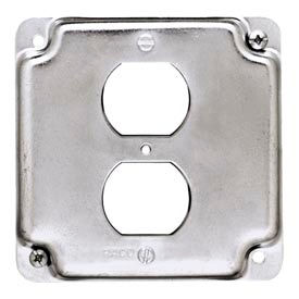 """Hubbell 902c 4"""" Square Exposed Work Cover, 1 Duplex Receptacle - Pkg Qty 10"""