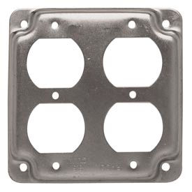 "Hubbell 907c 4"" Square Exposed Work Cover, 2 Duplex Receptacles - Pkg Qty 10"