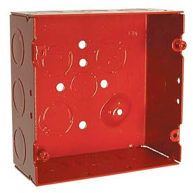 """Hubbell 911-12 Square Box 4-11/16"""", 2-1/8"""" Deep, Painted Red, 1/2"""" & 3/4"""" Side Knockouts - Pkg Qty 25"""