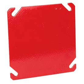 """Hubbell 911-8 4"""" Square Box Cover, Painted Red, Blank - Pkg Qty 50"""