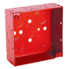 """Hubbell 911-9 Square Box 4"""", 1-1/2"""" Deep, Painted Red, 1/2"""" & 3/4"""" Side Knockouts, Welded - Pkg Qty 50"""