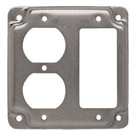 "Hubbell 915c 4"" Square Exposed Work Cover, 1 Gfci & 1 Duplex Receptacle - Pkg Qty 10"