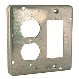"""Hubbell 959 4-11/16"""" Square Exposed Work Cover, 1 Duplex & 1 Gfci - Pkg Qty 10"""