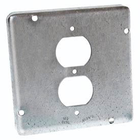 """Hubbell 972 4-11/16"""" Square Exposed Work Cover, 1 Duplex Receptacle - Pkg Qty 10"""