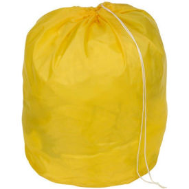 "18"" Drawcord Laundry Bag, Nylon, Yellow, Round Bottom - Pkg Qty 12"