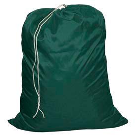 "18"" Drawcord Laundry Bag, Nylon, Green, Straight Bottom - Pkg Qty 12"