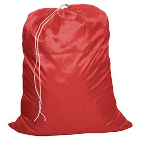 "18"" Drawcord Laundry Bag, Nylon, Red, Straight Bottom - Pkg Qty 12"