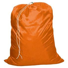"""18"""" Drawcord Laundry Bag, Nylon, Orange, Straight Bottom - Pkg Qty 12"""
