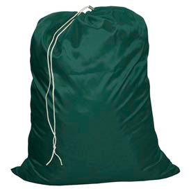 "25"" Drawcord Laundry Bag, Nylon, Green, Straight Bottom - Pkg Qty 12"