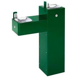 "Haws ""Hi-Lo"" ADA 2 Bubbler Galvanized Steel Pedestal Outdoor Drinking Fountain"