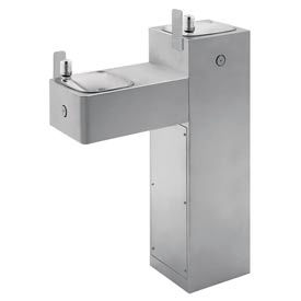 "Haws ""Hi-Lo"" ADA Dual Station, Outdoor Drinking Fountain, Steel, Pedestal"