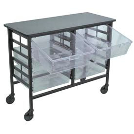Mobile Work Center with 6 Double Extra Wide Clear Storage Trays