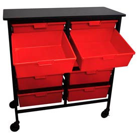 Mobile Work Center with 2 Single Extra Wide, 8 Double Extra Wide Red Storage Trays