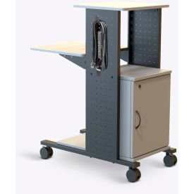 "Luxor Open Shelf Presentation Station with Cabinet & Power Strip, 18""W x 34-1/4""D x 40""H, Gray"