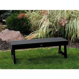 highwood® 4' Weatherly Backless Outdoor Bench, Eco Friendly Synthetic Wood In Black