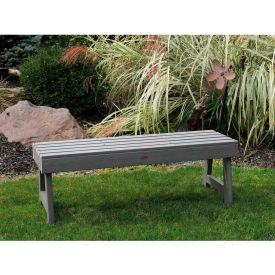 highwood® 4' Weatherly Backless Outdoor Bench, Eco Friendly Synthetic Wood In Coastal Teak
