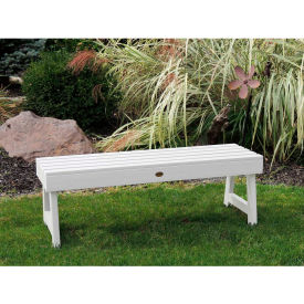 highwood® 4' Weatherly Backless Outdoor Bench, Eco Friendly Synthetic Wood In White