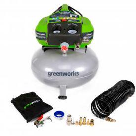 GreenWorks® 41522, 2 HP, Hand Carry, 6 Gallon, Pancake, 150 PSI, 2.6 CFM, 1-Phase 120V