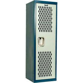 Hallowell HTL151548-1JP Home Team Locker, 1 Wide Unassembled, 15x15x48, Blue Body / Light Gray Door