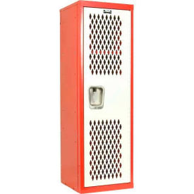 Hallowell HTL151548-1RS Home Team Locker, 1 Wide  Unassembled, 15x15x48, Red Body / White Door