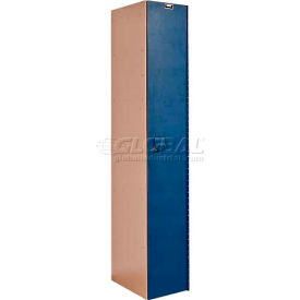 Hallowell HPL1282-1A-TB AquaMax Plastic Locker, Single Tier, 1 Wide 12x18x72 Taupe Body & Blue Doors