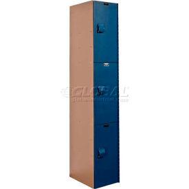 Hallowell HPL1282-3A-TB AquaMax Plastic Locker, Triple Tier, 1 Wide 12x18x24 Taupe Body & Blue Doors