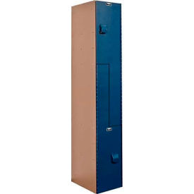 Hallowell HPL1282-ZA-TB AquaMax Plastic Locker, Z Tier, 1 Wide, 12x18x48, Taupe Body & Blue Doors