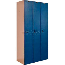 "Hallowell AquaMax Plastic Locker, Single Tier, 3 Wide, 12""W x 18""D x 72""H, Taupe Body & Blue Doors"