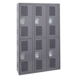 Hallowell HWBA282-222HG Welded Double-Point Ventilated Locker Double Tier 3 Wide - 12x18x72