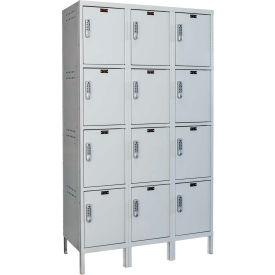 Hallowell UELBP3588-4A-PL Laptop/Backpack Locker, 45x18x19-1/2, 4 Tier, 3W, Assembled - Light Gray