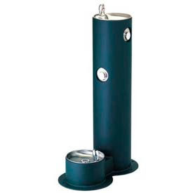 Halsey Taylor Tubular Pedestal Outdoor Drinking Fountain w/ Pet Fountain