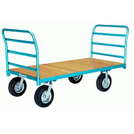 Platform Truck 30x48 Wood Deck Pneumatic Wheels 2000 lbs Double Handle