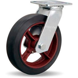 Hamilton® Standard Cold Forged Swivel 8 x 2 Mold-On Rubber Roller 500 Lb. Caster