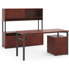 basyx by HON Executive Desk with Credenza & Hutch Chestnut Manage Series by