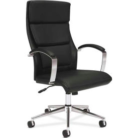 basyx® by HON® Executive Chair with Loop Arms and Headrest - High Back - Leather - Black