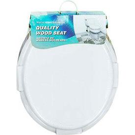 AquaPlumb® CTS100W-CH Round Wood Chrome Hinge and Beveled Edge Toilet Seat W/ Cover, White - Pkg Qty 6