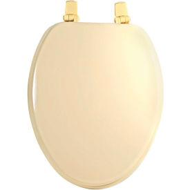 AquaPlumb® TS104BO Elongated Color Matched Hinge Wood Toilet Seat W/ Cover, Bone