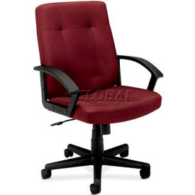 HON® - Basyx® VL602 Managerial Mid-Back Chair, Fabric Seat, Burgundy