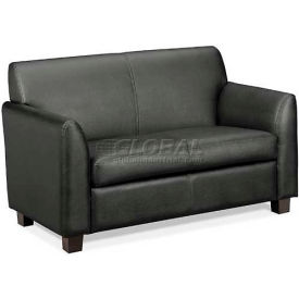 HON® - Basyx® Tailored Leather Reception Two-Cushion Loveseat, Black
