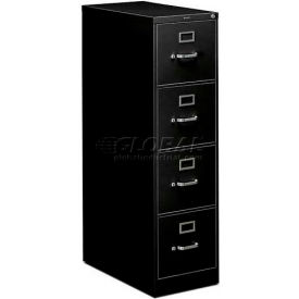 "HON® - 310 Series 4 Drawer Vertical File, 26-1/2""D, Letter, Black"