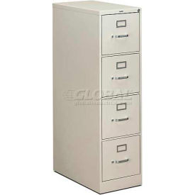 "HON® - 310 Series 4 Drawer Vertical File, 26-1/2""D, Letter, Light Gray"