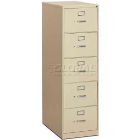 "HON® - 310 Series 5 Drawer Vertical File, 26-1/2""D, Legal, Putty"