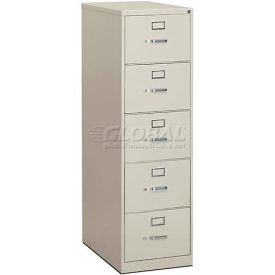 "HON® - 310 Series 5 Drawer Vertical File, 26-1/2""D, Legal, Light Gray"