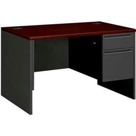 "HON® Steel Desk - Single Right Pedestal - 48""W x 30""D x 29-1/2""H - Mahogany - 38000 Series"