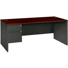"HON® Steel Desks - Single Left Pedestal - 72""W x 36""D x 29-1/2""H - Mahogany - 38000 Series"
