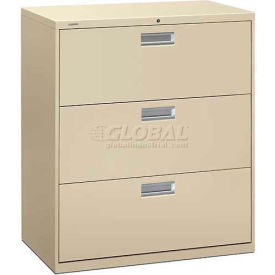 """HON® - Brigade®  600 Series 3 Drawer Lateral File, 36""""W, Putty"""